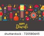 diwali hindu festival seamless...   Shutterstock .eps vector #720580645