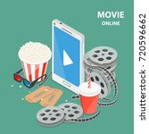 online movie flat isometric low ... | Shutterstock .eps vector #720596662