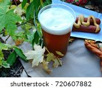 beer  pretzels and sausages on...   Shutterstock . vector #720607882