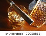 whiskey and cigar on wooden... | Shutterstock . vector #72060889