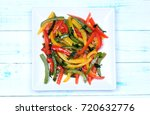 pepper salad in a plate on... | Shutterstock . vector #720632776