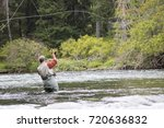 A man fly-fishing on the Campbell River is reeling in a pink salmon.