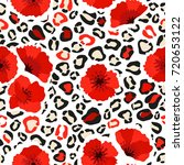 leopard skin and poppy seamless ... | Shutterstock .eps vector #720653122