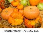Huge Pumpkins On The Hay.