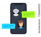 chatbot concept. man chatting... | Shutterstock .eps vector #720660352