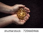 gold nuggets with a bitcoin in... | Shutterstock . vector #720660466