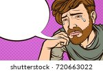 crying pop art style hipster... | Shutterstock .eps vector #720663022