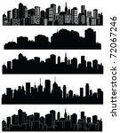 set of vector cities silhouette | Shutterstock .eps vector #72067246