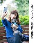 dog walking  women  self...   Shutterstock . vector #720673282