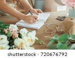 young woman florist occupation... | Shutterstock . vector #720676792