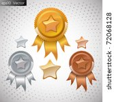 vector set of medals and stars | Shutterstock .eps vector #72068128