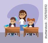 teacher woman educated the... | Shutterstock .eps vector #720703552