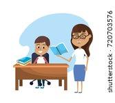 teacher woman educated the... | Shutterstock .eps vector #720703576