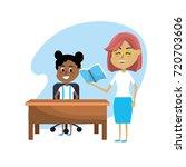 teacher woman educated the... | Shutterstock .eps vector #720703606