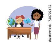 teacher woman educated the... | Shutterstock .eps vector #720703672