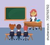 teacher woman educated the... | Shutterstock .eps vector #720703702