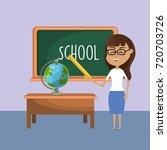 teacher woman and creative... | Shutterstock .eps vector #720703726