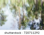 trees and sky reflecting in the ... | Shutterstock . vector #720711292