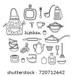 kitchen icon doodle set. dishes | Shutterstock .eps vector #720712642