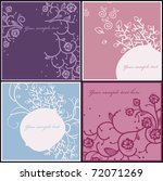 set of 4 floral cards with... | Shutterstock .eps vector #72071269