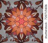 flowers on white  orange and... | Shutterstock .eps vector #720715606