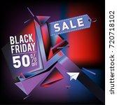 black friday sale poster. 3d...   Shutterstock .eps vector #720718102