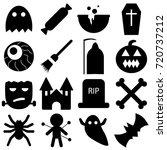 set of halloween objects ... | Shutterstock .eps vector #720737212
