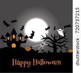 set of halloween objects ... | Shutterstock .eps vector #720737215