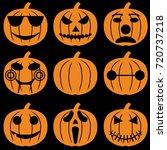 set of halloween objects ... | Shutterstock .eps vector #720737218