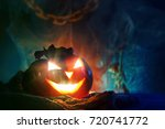 halloween pumpkins on a wooden... | Shutterstock . vector #720741772