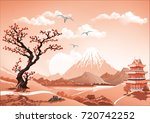 landscape of nature asia this... | Shutterstock .eps vector #720742252