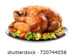 plate with roasted turkey on... | Shutterstock . vector #720744058