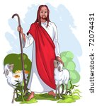 jesus and sheep. christian... | Shutterstock .eps vector #72074431