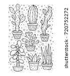 succulent and cactus isolated.... | Shutterstock .eps vector #720752272