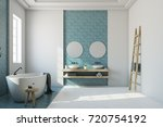 white bathroom interior with a... | Shutterstock . vector #720754192
