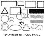 blank postal stamps set...   Shutterstock .eps vector #720759712