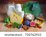 foods rich in calcium such as... | Shutterstock . vector #720762922