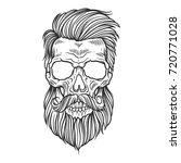 bearded skull illustration | Shutterstock .eps vector #720771028