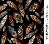 color feathers embroidery... | Shutterstock .eps vector #720778162