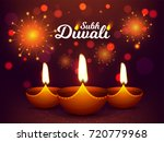 realistic oil lamp  diya  with... | Shutterstock .eps vector #720779968