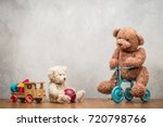 retro teddy bear toys family ... | Shutterstock . vector #720798766