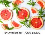 grapefruit slices and marijuana ... | Shutterstock . vector #720815302