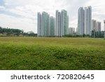 condominium skyline with trees... | Shutterstock . vector #720820645