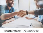 Small photo of Business male partnership handshake concept.Photo two mans handshaking process.Successful deal after great meeting.Horizontal, blurred background