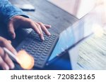 closeup view of male hands... | Shutterstock . vector #720823165