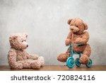 retro teddy bear toys playing... | Shutterstock . vector #720824116