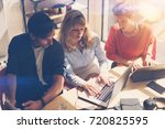 coworking process at sunny... | Shutterstock . vector #720825595