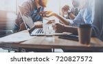 brainstorming process at sunny... | Shutterstock . vector #720827572