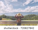 woman traveler with backpack... | Shutterstock . vector #720827842