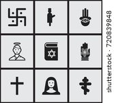 set of 9 editable faith icons.... | Shutterstock .eps vector #720839848
